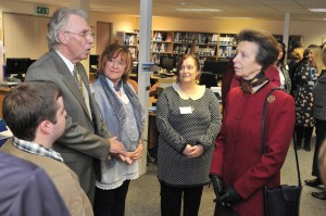 Princess Anne chats to carers on her visit to our office.