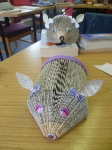 Bookfolded hedgehogs created by carers at the Friendship Group