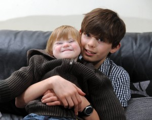 Young carer Callum and his little brother, Alfie. Picture courtesy of Yorkshire Post.
