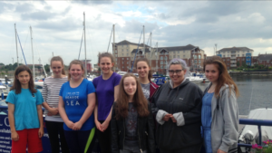 Young carers all set for a sailing trip off the coast of Northumberland