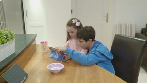 Young carer George and sister Amelia