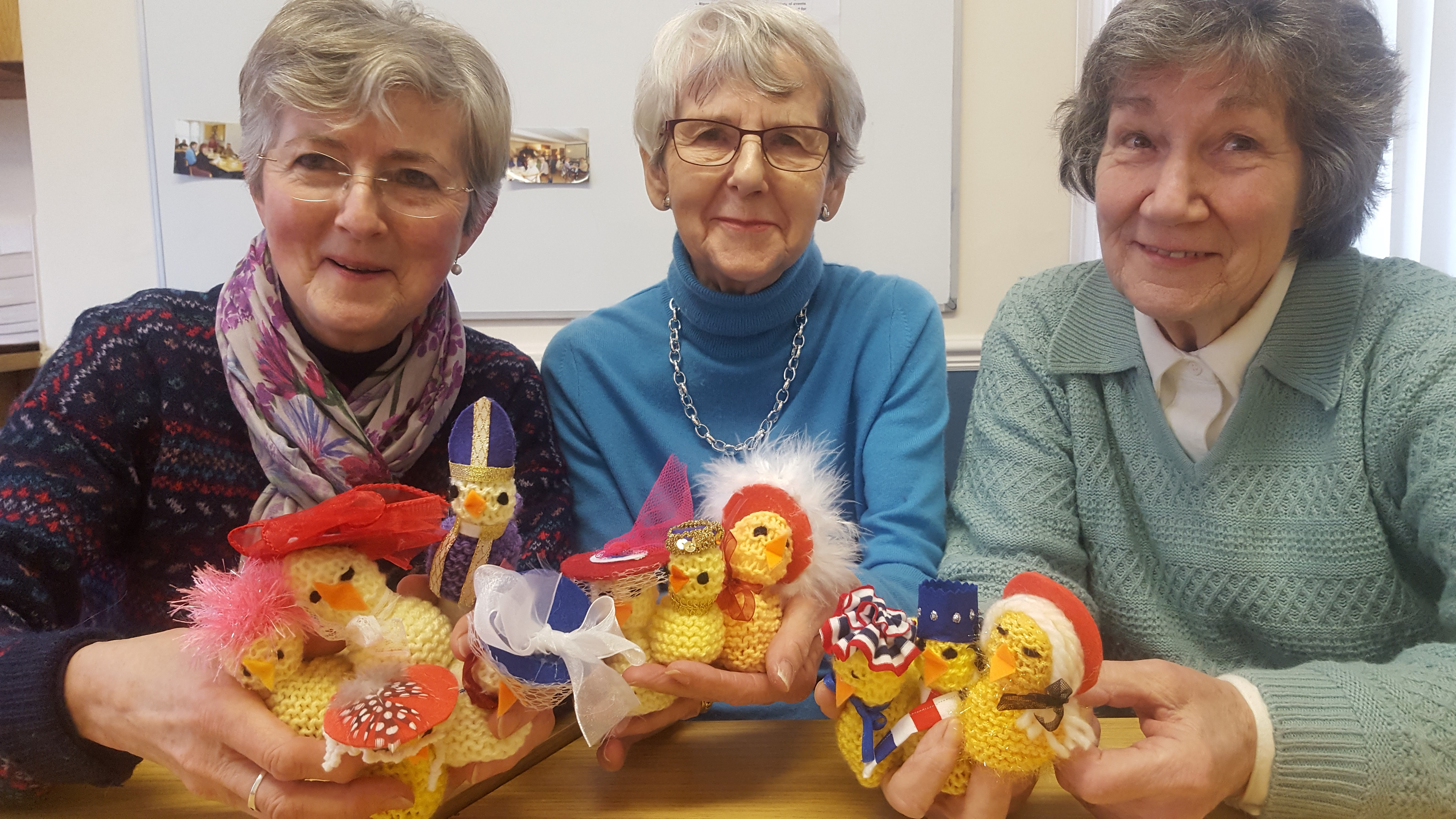 Knitters display their chicks