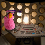 Knitted chick in the Tardis control room