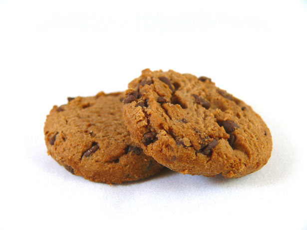 A picture of two choc-chip cookies