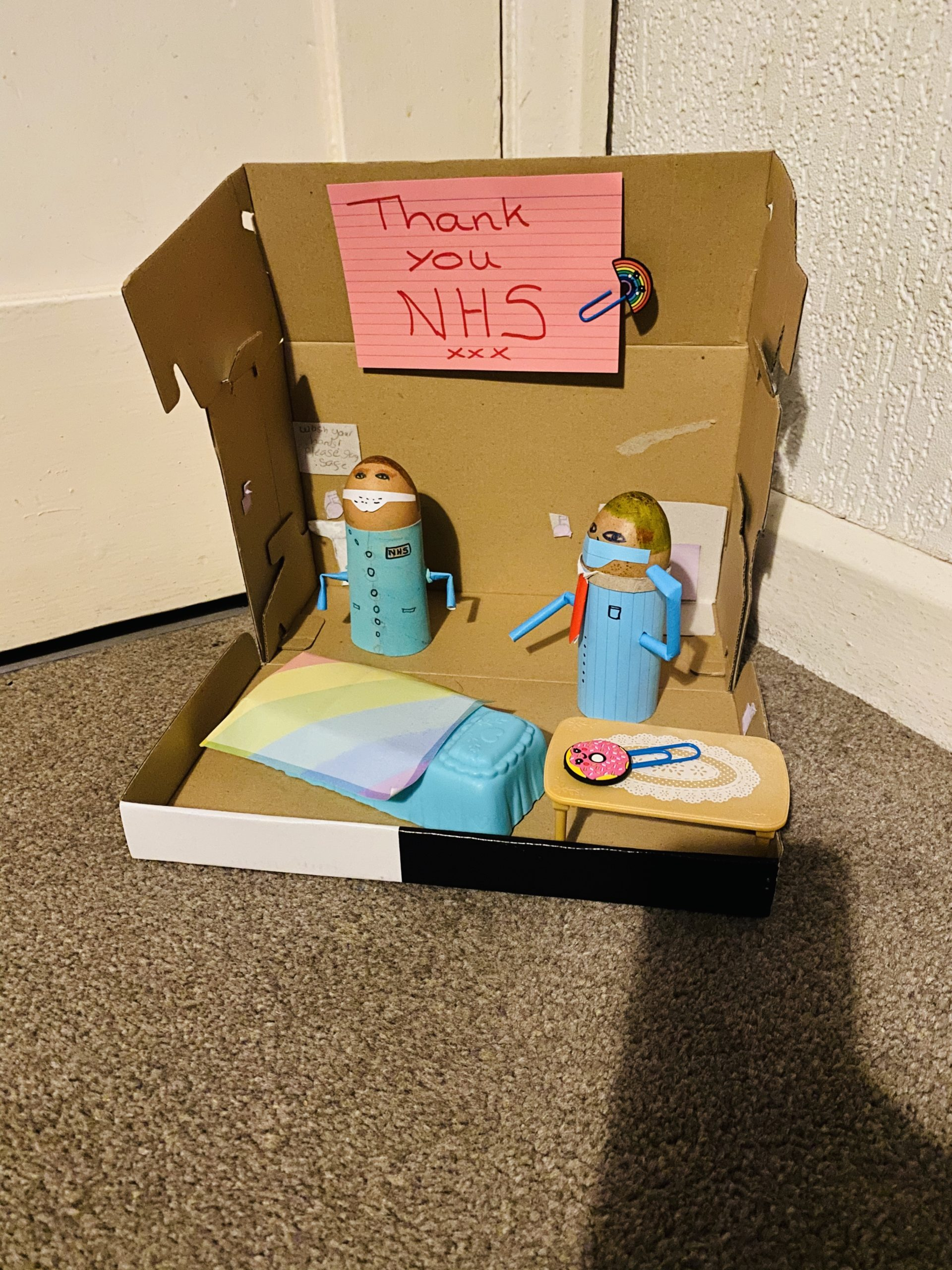 Young carers have made an NHS craft activity using eggs and loo roll tubes